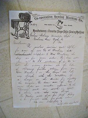 """Collectible 1883 Letter Head """"CO-OPERATIVE SEWING MACHINE CO."""" Philadelphia,PA"""