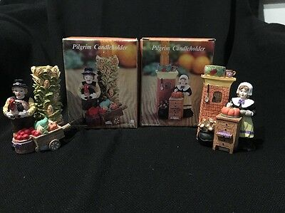 Adorable Hand Painted Pilgrims Taper Candleholders ~ Harvest Fall Thanksgiving!