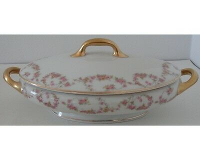 Antique Limoges Elite Works France Bridal Wreath Covered Oval Vegetable Bowl