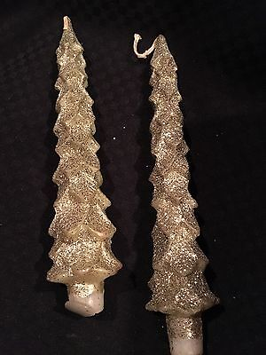 """Nib Gold Glitter Tree Shaped Taper Candles  9"""" - Colonial Candle Co.of Cape Cod"""