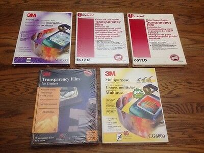 3M & Universal Transparency Film Lot 346 Sheets PP2500 CG6000 AF4300 65120 65130
