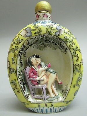 Chinese Polychrome Porcelain Carved Person Pattern Snuff Bottle