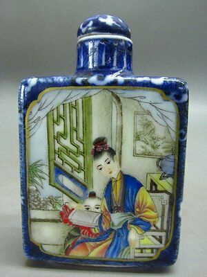 Chinese Porcelain Painted Mater Boy Poetry Pattern Snuff Bottle