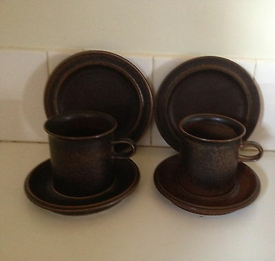 Vintage Arabia Finland Ruska 2 X Large Cups, Saucers & Plates Retro Scandinavian