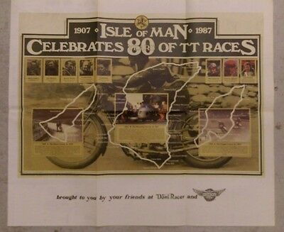 """1990 Domi Racer classic poster - 1987 Isle of Man 80 Years of TT Races - 22""""x34"""""""