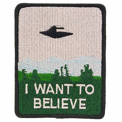 I Want To Believe X Files Iron Patch TV Movie Cosplay Costume Mulder UFO Alien
