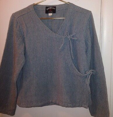 Lost Horizons Sea Green Hand Woven in Nepal 100% Cotton Tie Front Wrap Top M