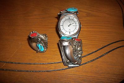 Bear Claw & Turquoise  Seiko Watch and ring