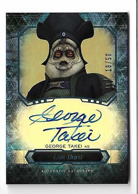 2016 Topps Star Wars Masterwork Autograph George Takei as Lok Durd #18/50