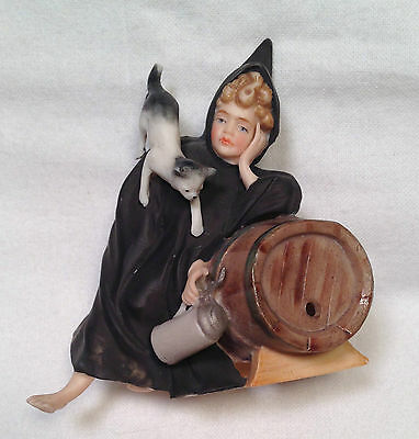 Beautiful Antique Heubach? German Munich Boy Barrel Cat Stein Figurine Figure