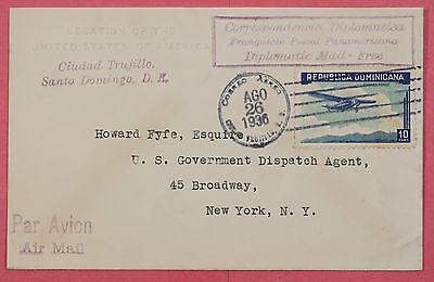 1936 Dominican Republic Air Mail Cover Us Legation Diplomatic Cover To Usa