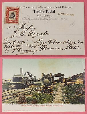 1908 Panama Pc Steam Shovel Canal Zone Postcard To Italy