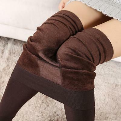 Women Winter Thick Warm Fleece Lined Thermal Stretchy Leggings Pants Coffee