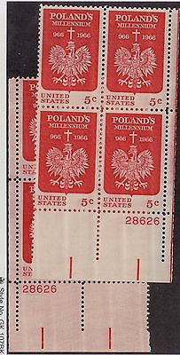 US MNH Scott # 1313 Poland Plate Blocks 28626 Pair (8 Stamps)