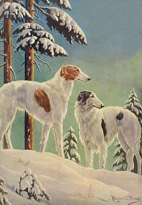 Borzoi Dogs by Marguriete Kirmse 1928  ~  LARGE New Blank Note Cards