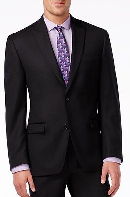 50R New Shaquille O'neal Black Textured 100% Wool Peak Lapel 2Pc Suit Big & Tall