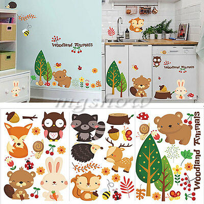 Removable Woodland Animals Vinyl Wall Stickers DIY PVC Art Decal Nursery Decor