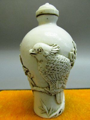 Chinese White Porcelain Carved Bird On Tree Pattern Snuff Bottle