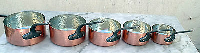 Lot De 5 Casseroles En Cuivre/ Manches En Fonte/ Fabriquees En France