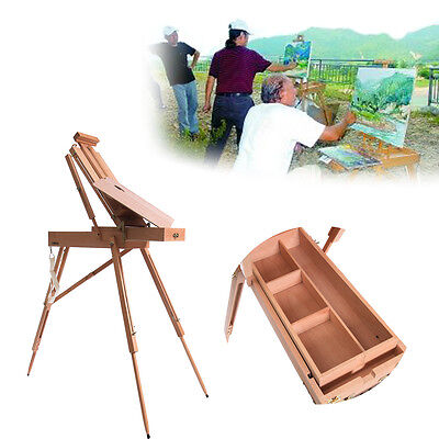 Easel Wooden Sketch Box Portable Folding W/ Divided box drawer Painters Tripod