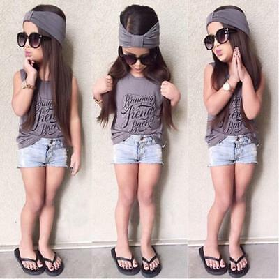 3PCS/Set Kids Baby Girl Tops Vest Tee+Jeans Pants Shorts+Headband Clothes Outfit
