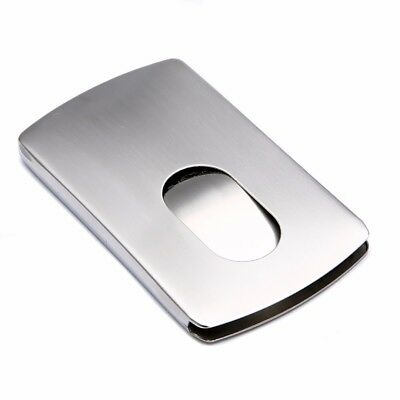 New Stainless Steel Thumb Slide Pocket Name Business Credit Card Holder Case
