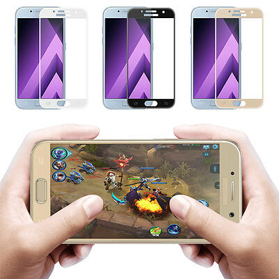 9H Silk/3D Curved Edge Tempered Glass Full Cover For Samsung Galaxy A3/A5/A7