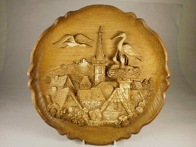 German Alsace Carved Wood Wall Plaque