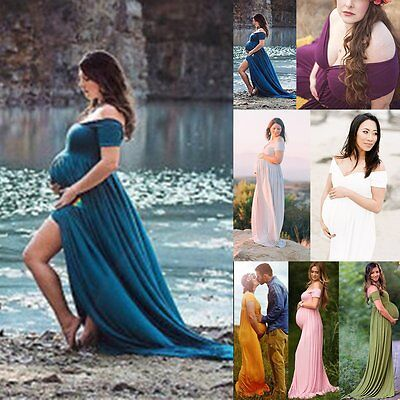 Gown Maternity Maxi Wedding Party Dresses Plus Size Photography Stretch Cotton