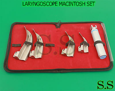 Set Of 4 Blades And One Handle Laryngoscope Macintosh Intubation Emt Anesthesia