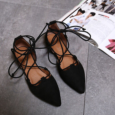 Women's Fashion Casual Ballet Flats Suede Pointed Toe Lace Up Straps Pumps Shoes