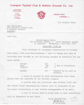RARE official original letter: LIVERPOOL FC 1958 signed by Jimmy McInnes