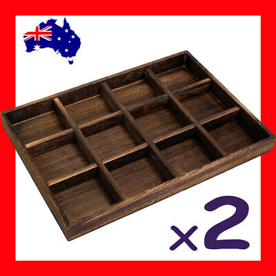 2X Wood Jewellery Tray Nature Style-12 Compartments | AUSSIE Seller