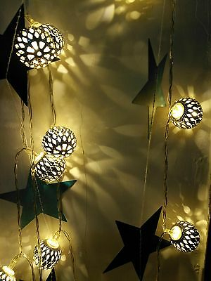 10 LED Moroccan Solar String Fairy Lights for Outdoor Garden Wedding Decoration
