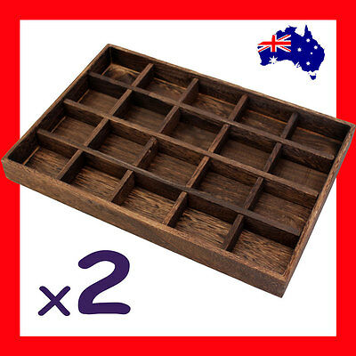 2X Wood Jewellery Tray Nature Style-20 Compartments | AUSSIE Seller