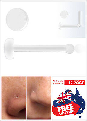 1pc Clear Acrylic Nose Bone Stud/Ring Retainer with Flat Top 20g No see No Pain