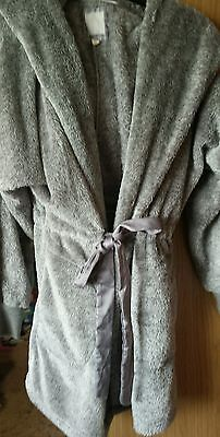 Grey fleece dressing gown