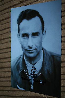 Luftwaffe Day Fighter Knights Cross Signed Photograph Seeger