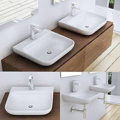 Durovin Stone Counter-Top Wall Mounted Curved Square Bathroom Basin Sink Wash