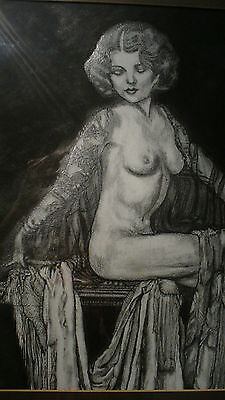 Sale. Nude Female Original pencil drawing, framed picture by Anne P Sheppard.