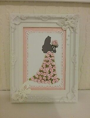 3D princess picture frame,silk roses,lace butterflies,handmade,decoration,