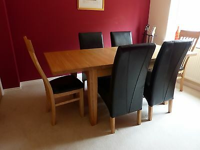 Extending Solid Ash Dining Room Table and 6 Chairs, from Peter Green