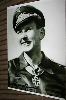 Luftwaffe Day Fighter Ace Knights Cross Signed Photograph Broch