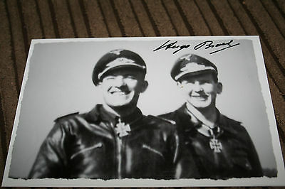 Luftwaffe Day Fighter Ace Knights Cross Signed Photograph Broch No.2