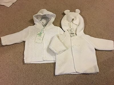 2 X White Baby Hooded Cardigans Unisex 0-3 Months, Next & Boots Mini Club Bnwt