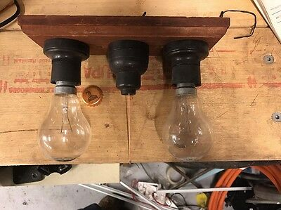 Vintage Garage Light With Pull Cord Switch And Wooden Base Antique Retro Man
