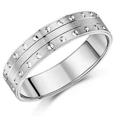 Silver Design Ring Flat Court Matt with Circles 6mm Ring