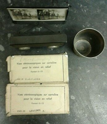 Vintage stereoscope and viewing cards