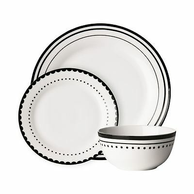 Avie 12pc Saturn Dinner Set, Black, Porcelain