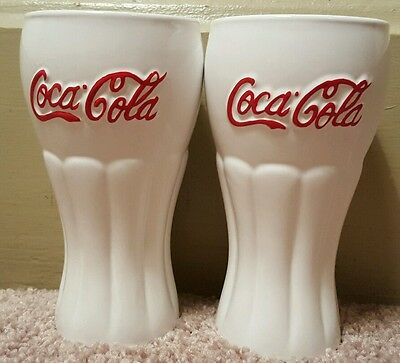 Set of 2 Coca-Cola (COKE) glasses, white with red lettering